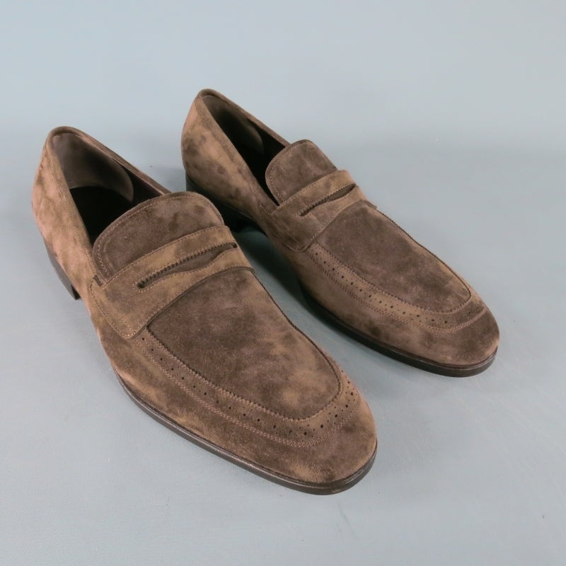 4d25fd43dfa SALVATORE FERRAGAMO Size 13 Nubuck Brown Suede Penny Loafers In Excellent  Condition For Sale In San