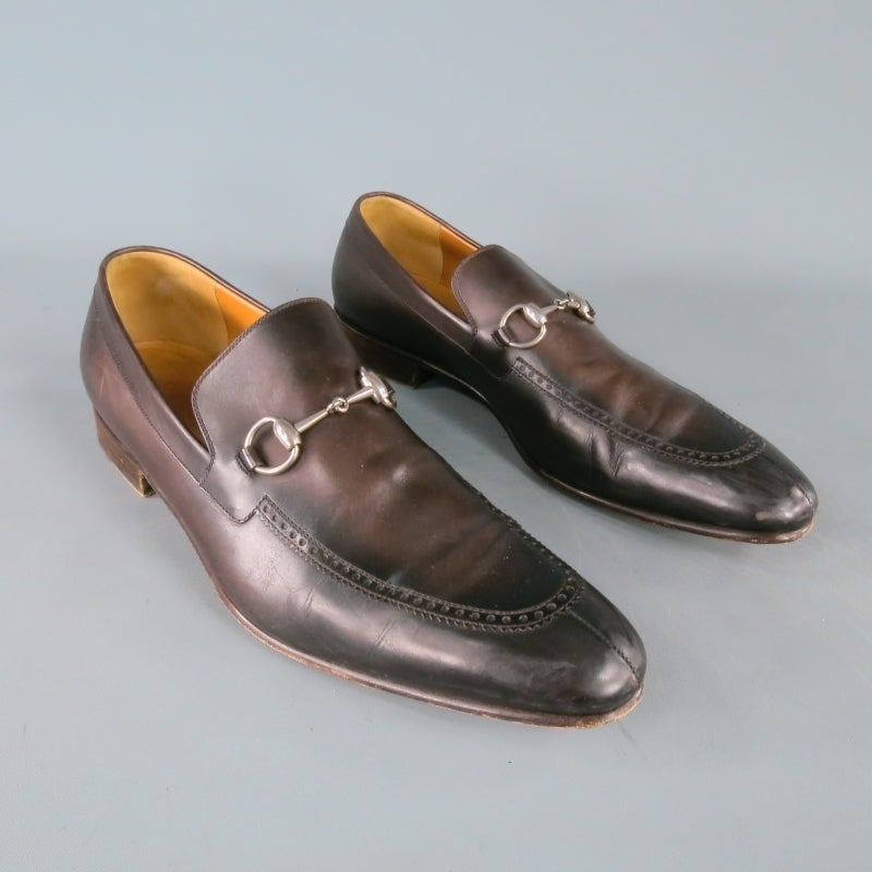 aefb7d6e0 Gray GUCCI Size 12 Men's Brown Leather Horse Bit Loafers For Sale