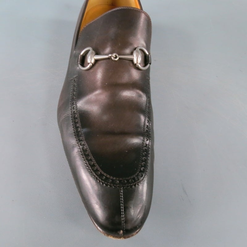 d4252c44d GUCCI Size 12 Men's Brown Leather Horse Bit Loafers In Good Condition For  Sale In San