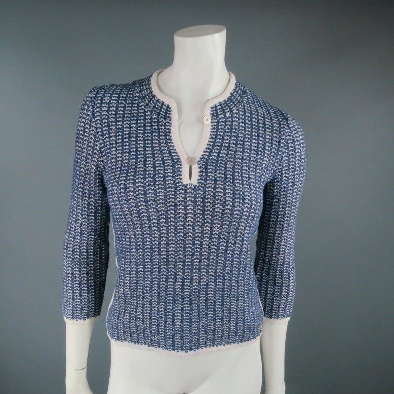 Gray CHANEL Size 12 Blue/White Cotton Blend 3/4 Sleeve Sweater/  2001 For Sale