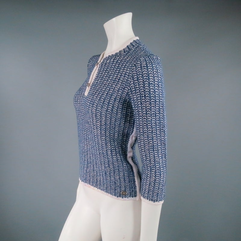 CHANEL Size 12 Blue/White Cotton Blend 3/4 Sleeve Sweater/  2001 In Excellent Condition For Sale In San Francisco, CA