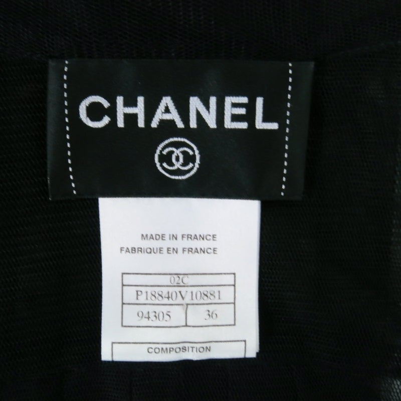 2002's CHANEL Size 6 Black Pleated Tulle Tuxedo Blouse 8