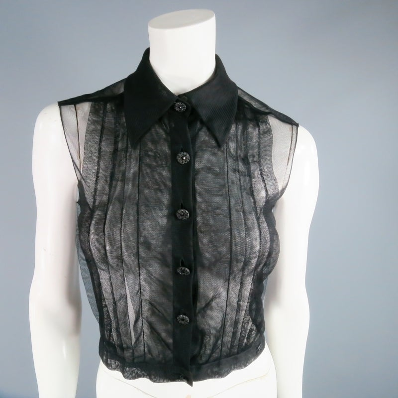 2002's CHANEL Size 6 Black Pleated Tulle Tuxedo Blouse 2