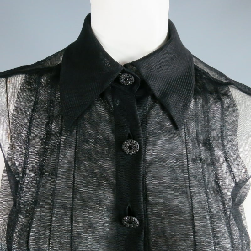 2002's CHANEL Size 6 Black Pleated Tulle Tuxedo Blouse 4