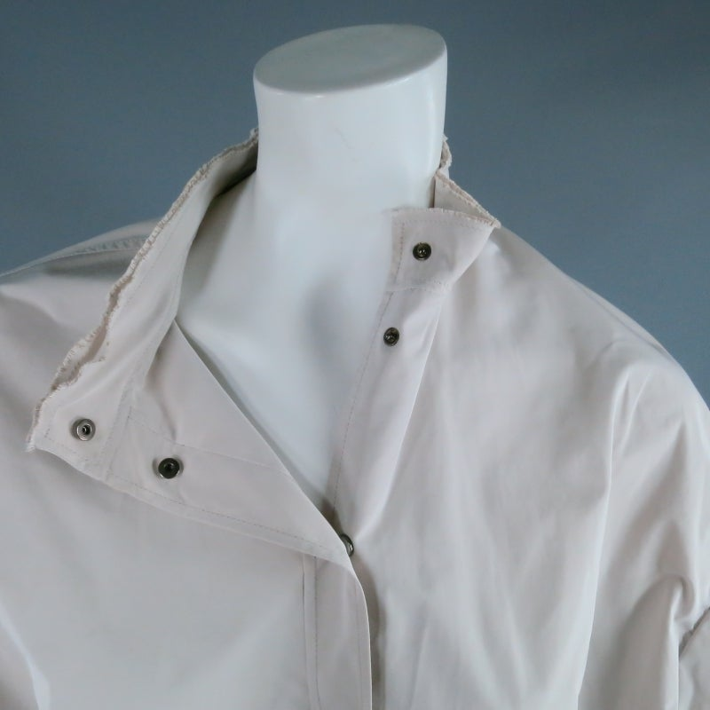 LANVIN Size 8 beige Ruffle Sleeve Snap Jacket/ Blouse 2007 In Excellent Condition For Sale In San Francisco, CA