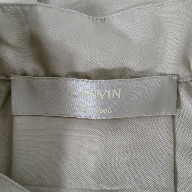 LANVIN Size 4 Khaki Silk Epaulete Jacket 2006 For Sale 2