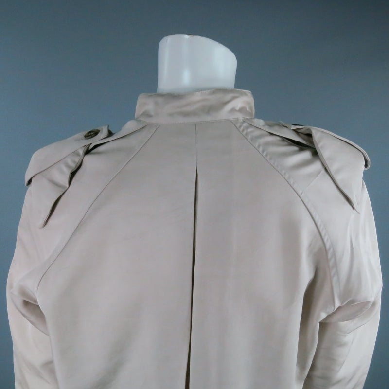 LANVIN Size 4 Khaki Silk Epaulete Jacket 2006 For Sale 1