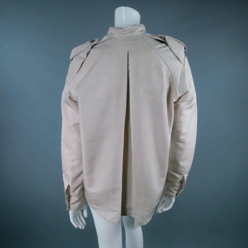Women's LANVIN Size 4 Khaki Silk Epaulete Jacket 2006 For Sale