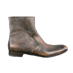 PRADA Size 11US Distressed Brown Leather Ankle Zip Boots