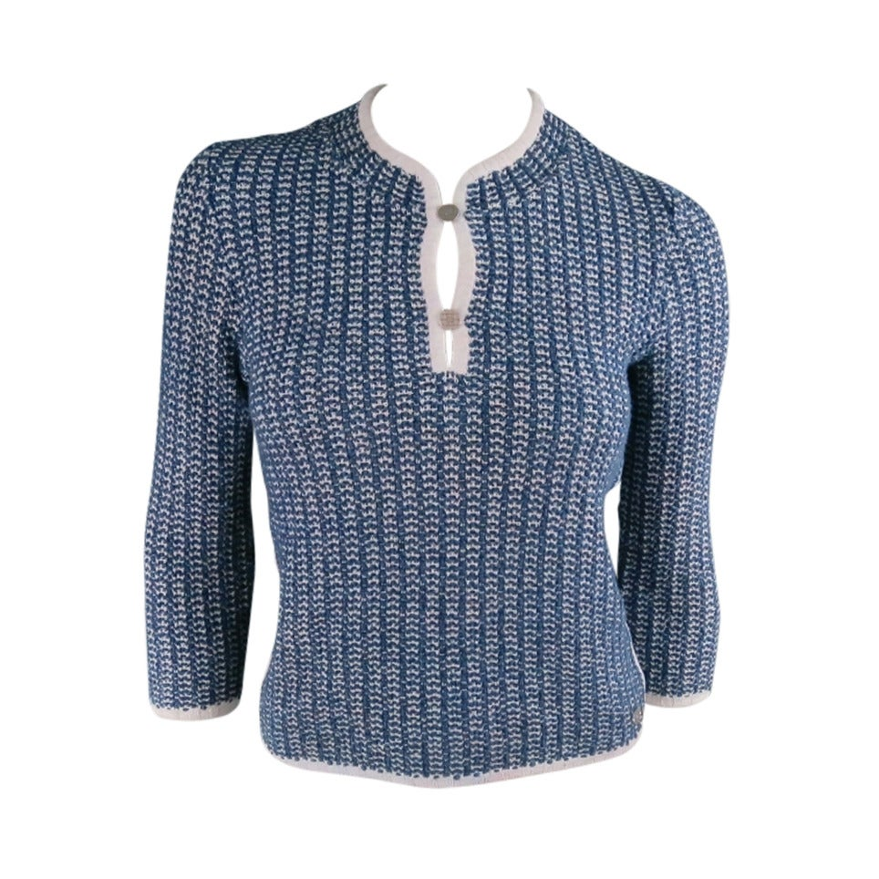 CHANEL Size 12 Blue/White Cotton Blend 3/4 Sleeve Sweater/  2001 For Sale