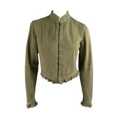 ALEXANDER MCQUEEN Size 10 Olive Cotton Denim Moto Jacket