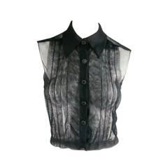 2002's CHANEL Size 6 Black Pleated Tulle Tuxedo Blouse