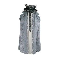 BALENCIAGA Size 8 Silver Paisley Silk Dress Top / Spring 2006