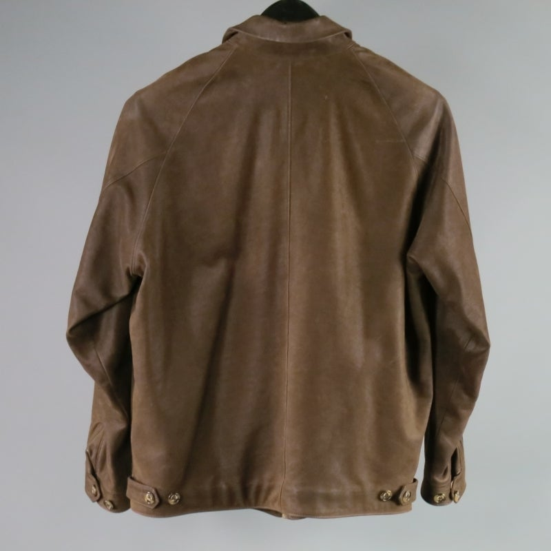 Loro Piana Jacket / Coat - Leather Brown Jacket with Zip Off Collar In Excellent Condition For Sale In San Francisco, CA