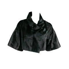 MARNI Size 4 Black Xiangao Fur Cropped Jacket