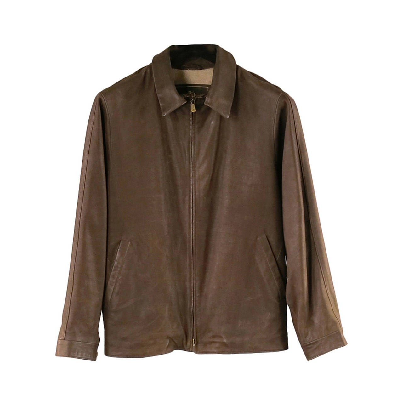 Loro Piana Jacket / Coat - Leather Brown Jacket with Zip Off Collar For Sale