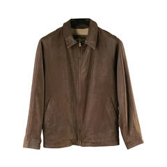 Loro Piana Jacket / Coat - Leather Brown Jacket with Zip Off Collar