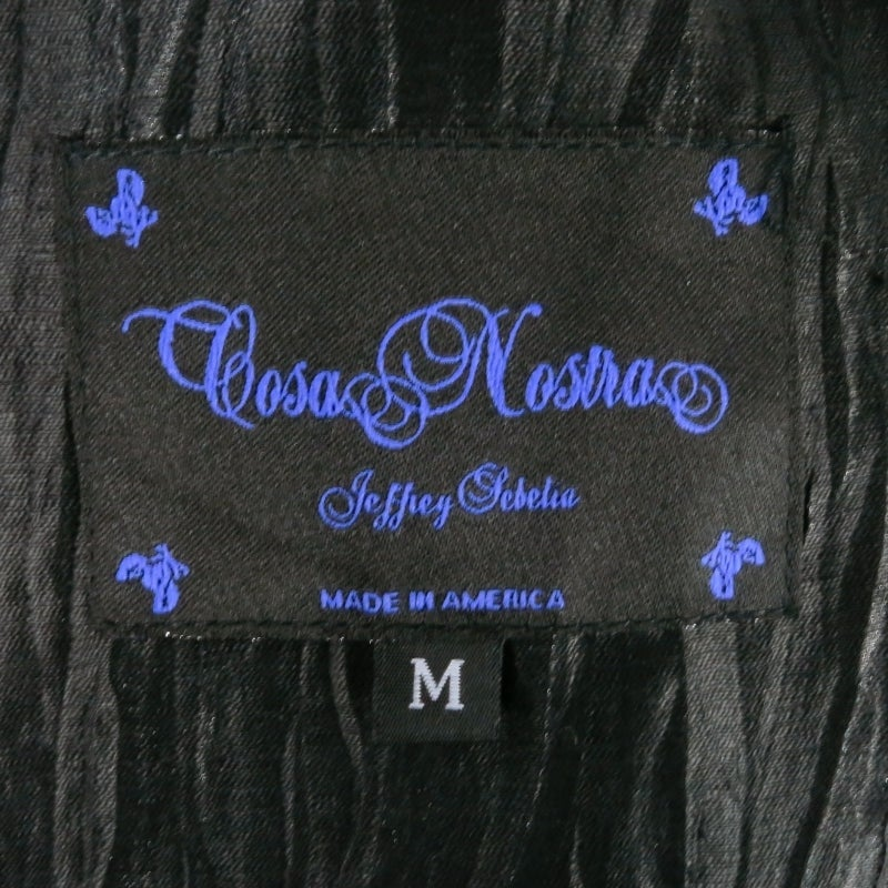 COSA NOSTRA Size M Black Textured Silk Blend 2 PC Zip Dress Jacket Set For Sale 6