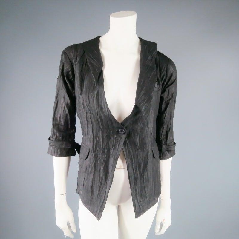 COSA NOSTRA Size M Black Textured Silk Blend 2 PC Zip Dress Jacket Set 2