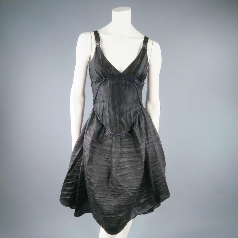 COSA NOSTRA Size M Black Textured Silk Blend 2 PC Zip Dress Jacket Set For Sale 1