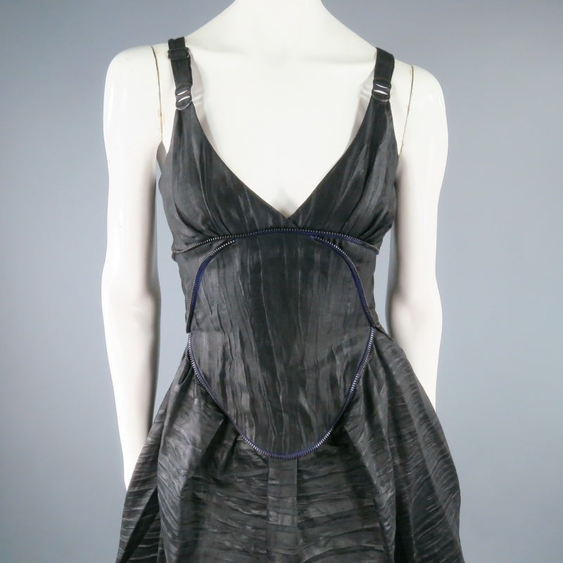 COSA NOSTRA Size M Black Textured Silk Blend 2 PC Zip Dress Jacket Set 4
