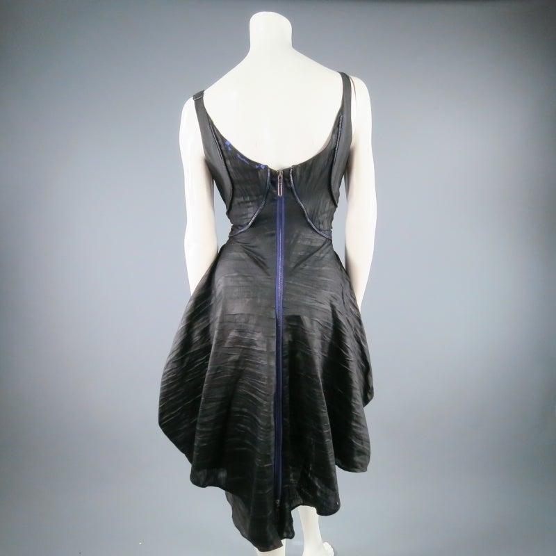 COSA NOSTRA Size M Black Textured Silk Blend 2 PC Zip Dress Jacket Set 3