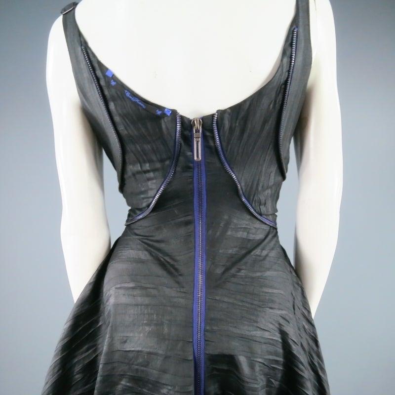 COSA NOSTRA Size M Black Textured Silk Blend 2 PC Zip Dress Jacket Set For Sale 4