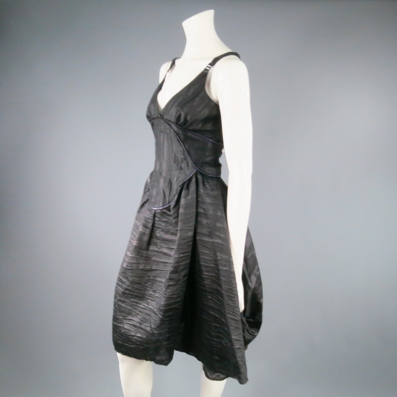 COSA NOSTRA Size M Black Textured Silk Blend 2 PC Zip Dress Jacket Set For Sale 3