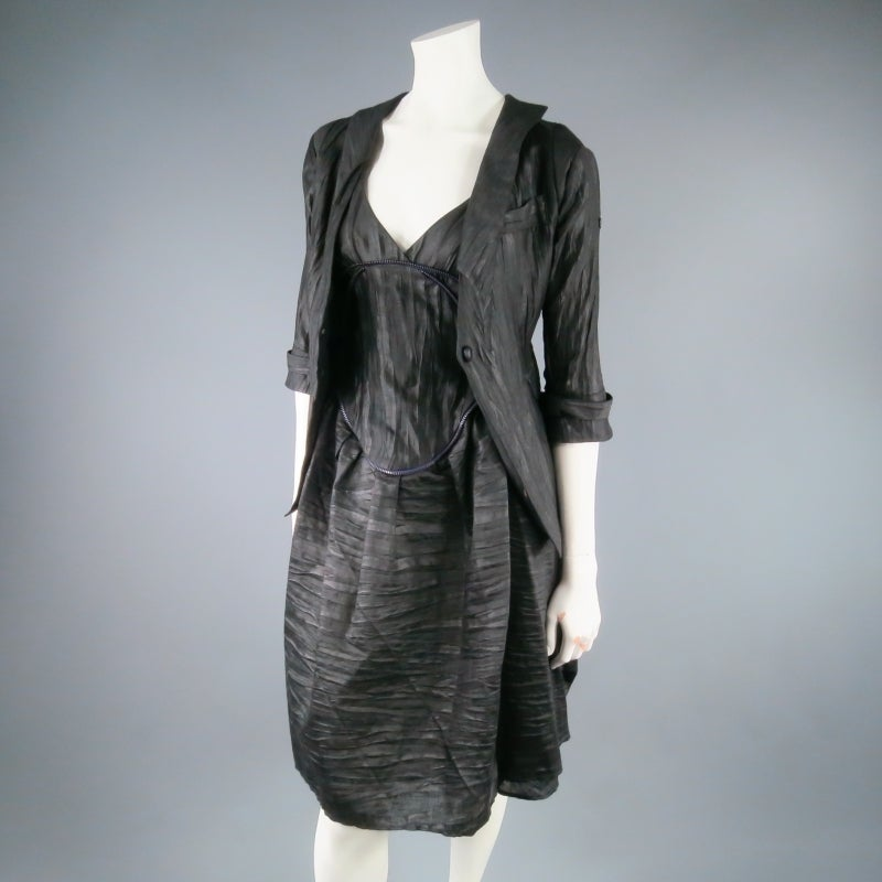 COSA NOSTRA Size M Black Textured Silk Blend 2 PC Zip Dress Jacket Set For Sale 5