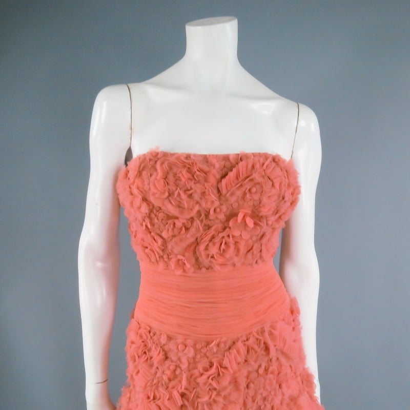 ZUHAIR MURAD Size 4 Salmon Rose Silk Tulle Strapless Evening Gown 2