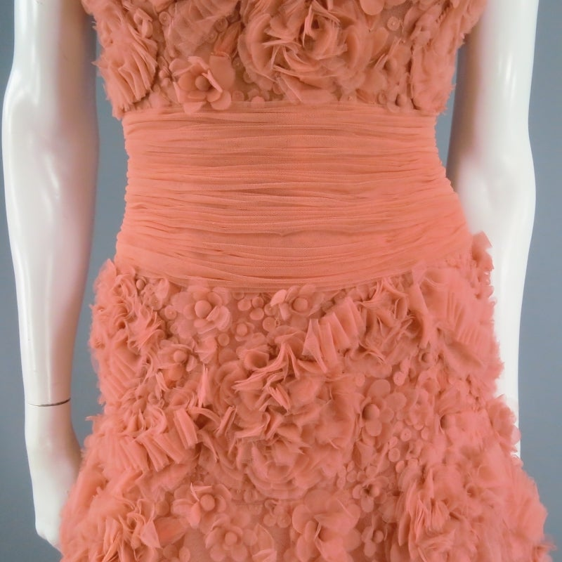 ZUHAIR MURAD Size 4 Salmon Rose Silk Tulle Strapless Evening Gown 3