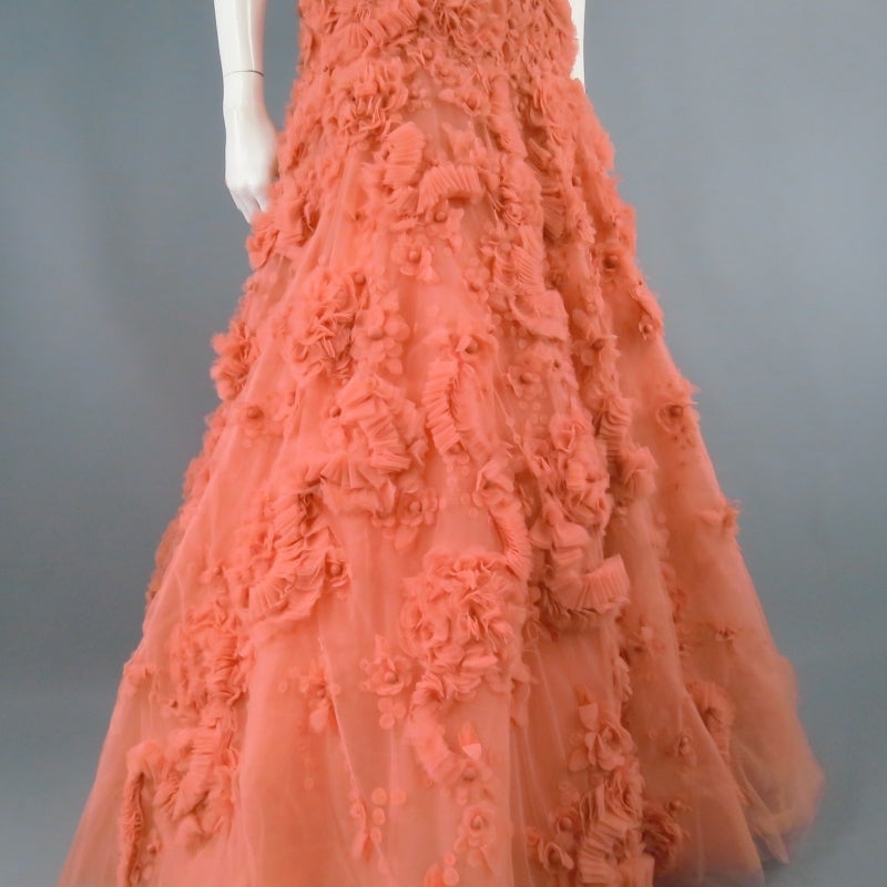 ZUHAIR MURAD Size 4 Salmon Rose Silk Tulle Strapless Evening Gown 4