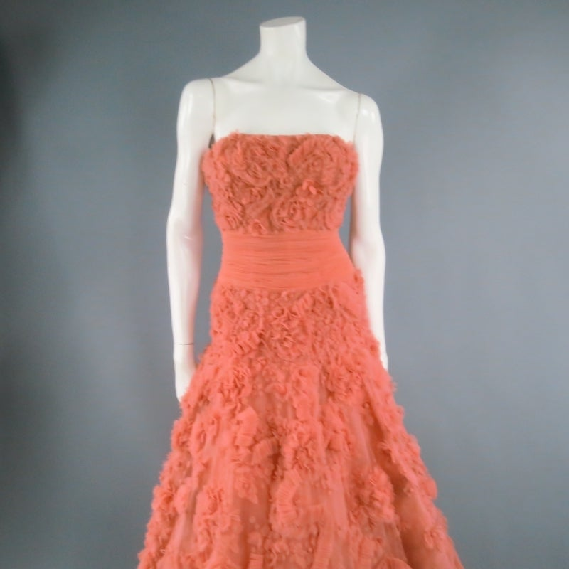 Zuhair Murad Salmon Rose Silk Tulle Strapless Evening Gown For Sale ...