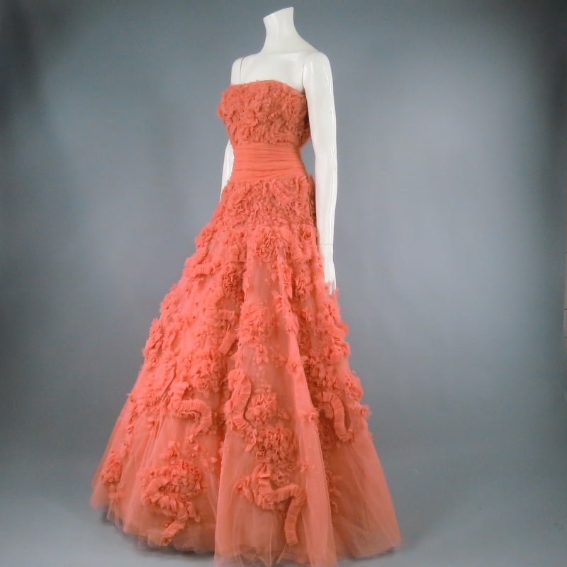 Zuhair Murad Salmon Rose Silk Tulle Strapless Evening Gown For Sale 1