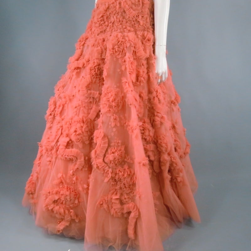 Zuhair Murad Salmon Rose Silk Tulle Strapless Evening Gown For Sale 2