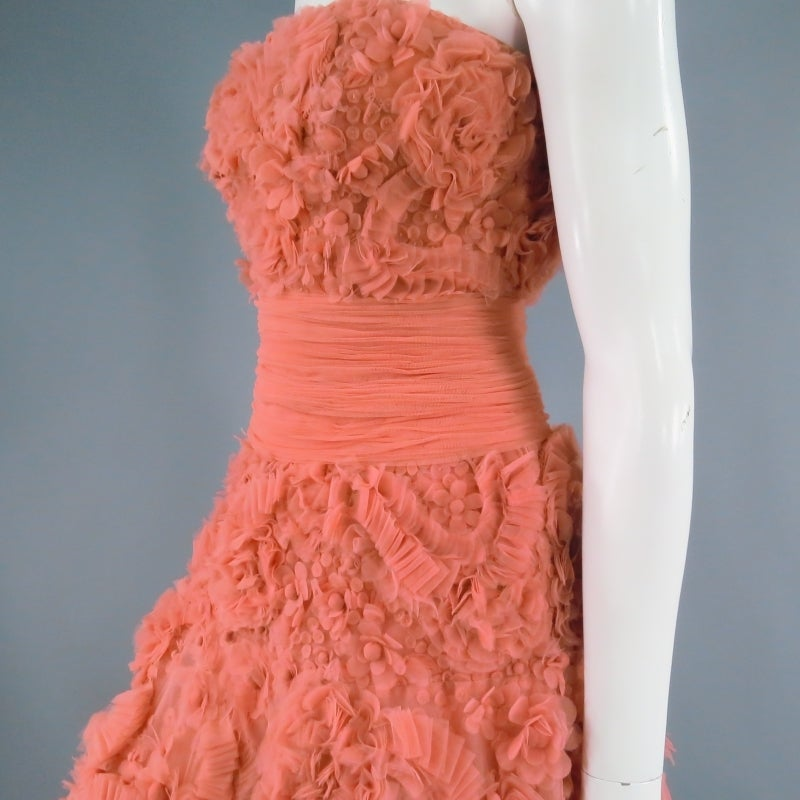 Zuhair Murad Salmon Rose Silk Tulle Strapless Evening Gown For Sale 3