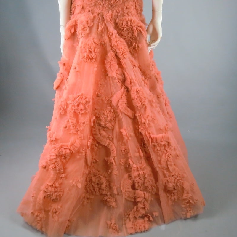 Zuhair Murad Salmon Rose Silk Tulle Strapless Evening Gown For Sale 4