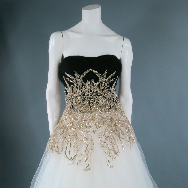 MARCHESA Size 4 Off White Silk Tulle Gown/Evening Wear For Sale 1