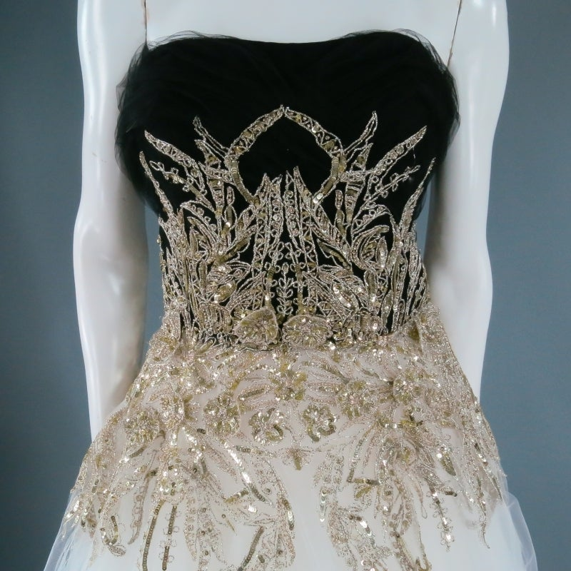 MARCHESA Size 4 Off White Silk Tulle Gown/Evening Wear For Sale 2