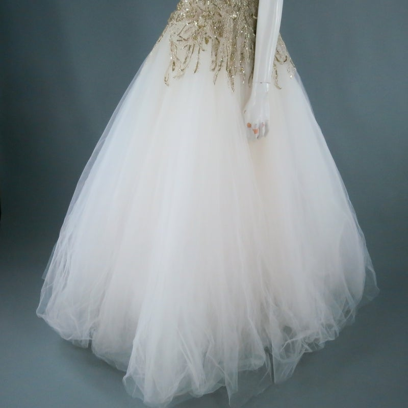 MARCHESA Size 4 Off White Silk Tulle Gown/Evening Wear For Sale 4