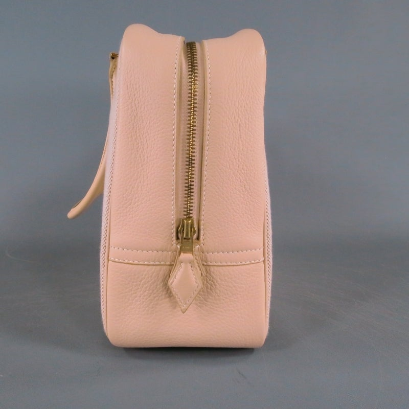 HERMES -Plume 32- Beige Leather Top Handles Canvas Handbag at 1stdibs