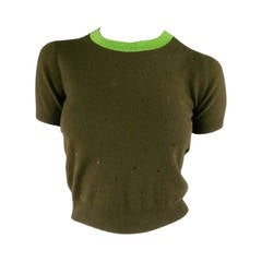 CHANEL Size 6 Olive Sequin Cashmere Cropped Sweater
