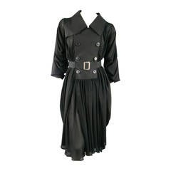 COMME des GARCONS Size M Black Wool & Chiffoon Draped Tranch Coat Dress