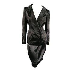 LANVIN Size 6 Black Textured Satin 2 PC Skirt Suit W/ Peak Lapel