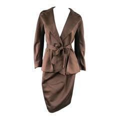 LANVIN Size 8 Copper/Black Satin Skirt Suit