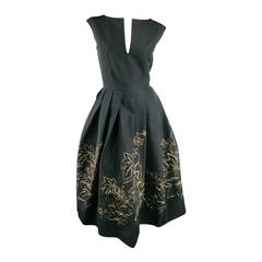 BARBARA TFANK Size 8 Black Pleated A line Skirt Embellished Cocktail Dress