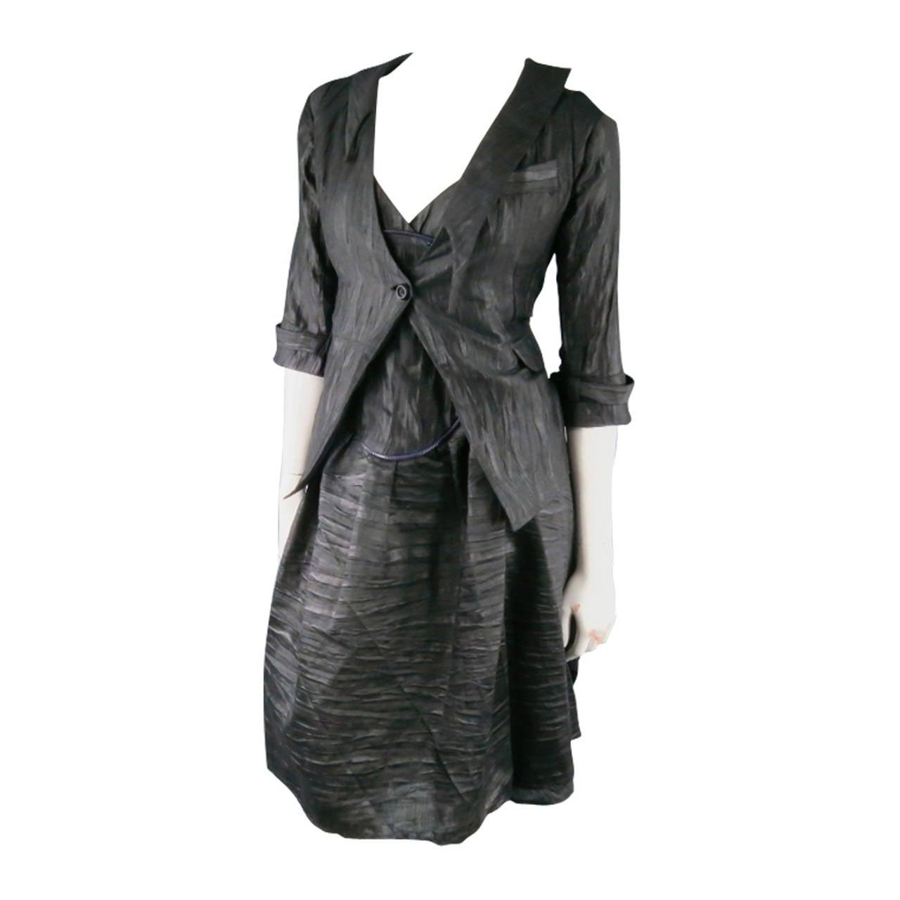 COSA NOSTRA Size M Black Textured Silk Blend 2 PC Zip Dress Jacket Set For Sale