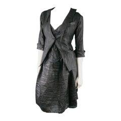 COSA NOSTRA Size M Black Textured Silk Blend 2 PC Zip Dress Jacket Set