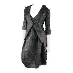 COSA NOSTRA Size M Black Textured Silk Blend 2 PC Zip Dress Jacket Set