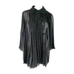 UNDERCOVER Size 2 Black Pleated Chiffon Trench Coat / Dress